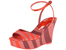 Burberry - Rugby Stripe Wedge Sandals (Orange Red) - Footwear