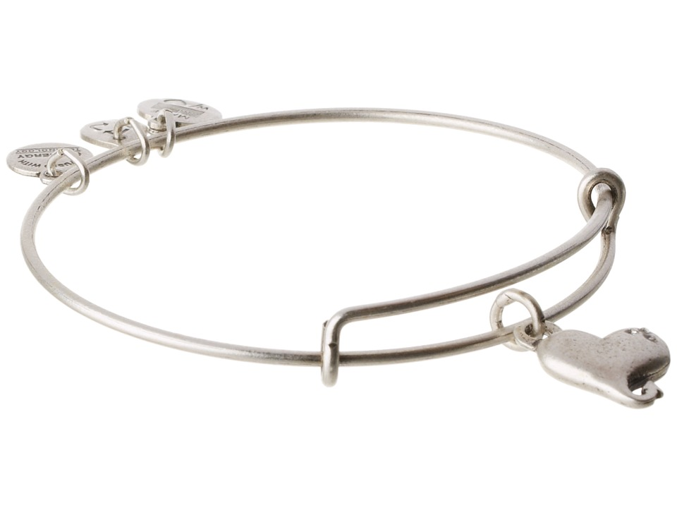 Alex and Ani - Cupid's Heart Charm Bangle (Rafaelian Silver Finish) Bracelet