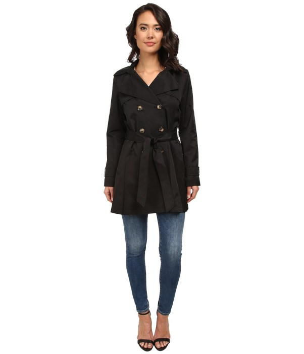 DKNY Double-Breasted Short Hooded Trench Coat (Black) Women's Coat