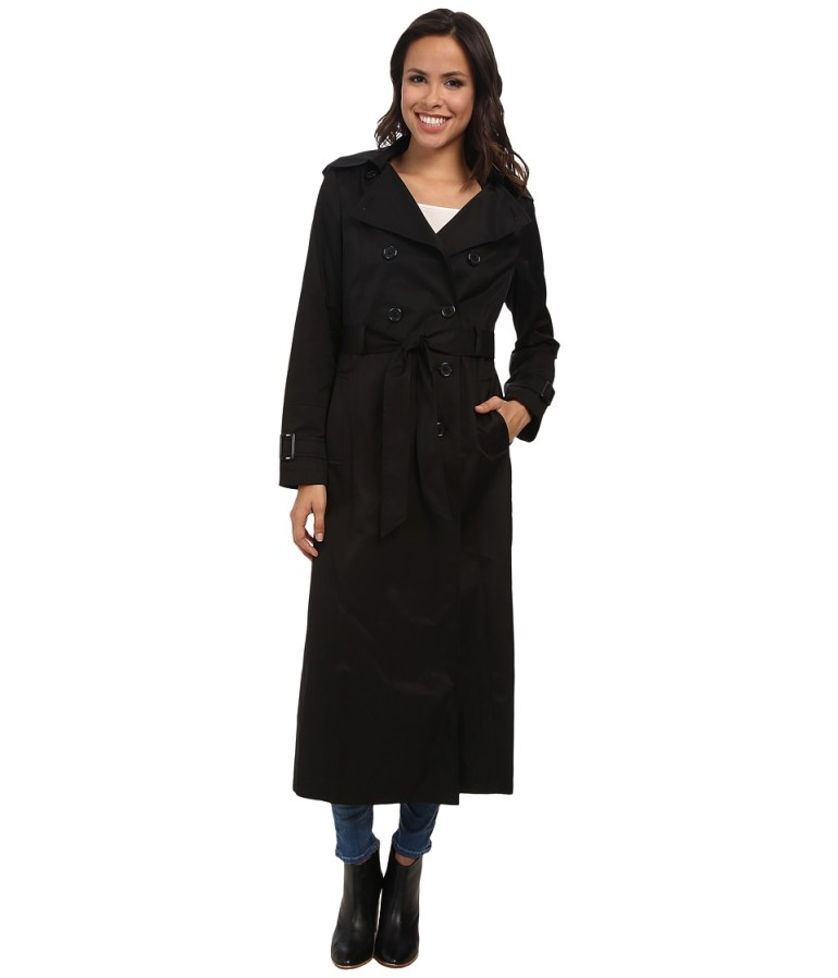 DKNY Long Double-Breasted Hooded Trench (Black) Women's Coat