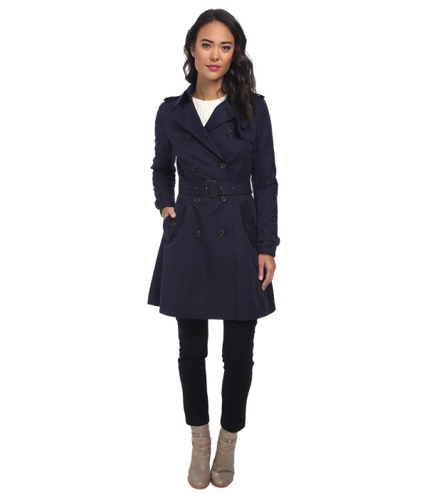 LAUREN by Ralph Lauren - Skirted Rain Coat (Regal Navy) Women's Coat