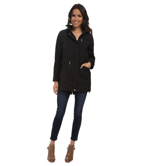 Cole Haan 34 Single Breasted Rain Jacket (Black) Women's Coat