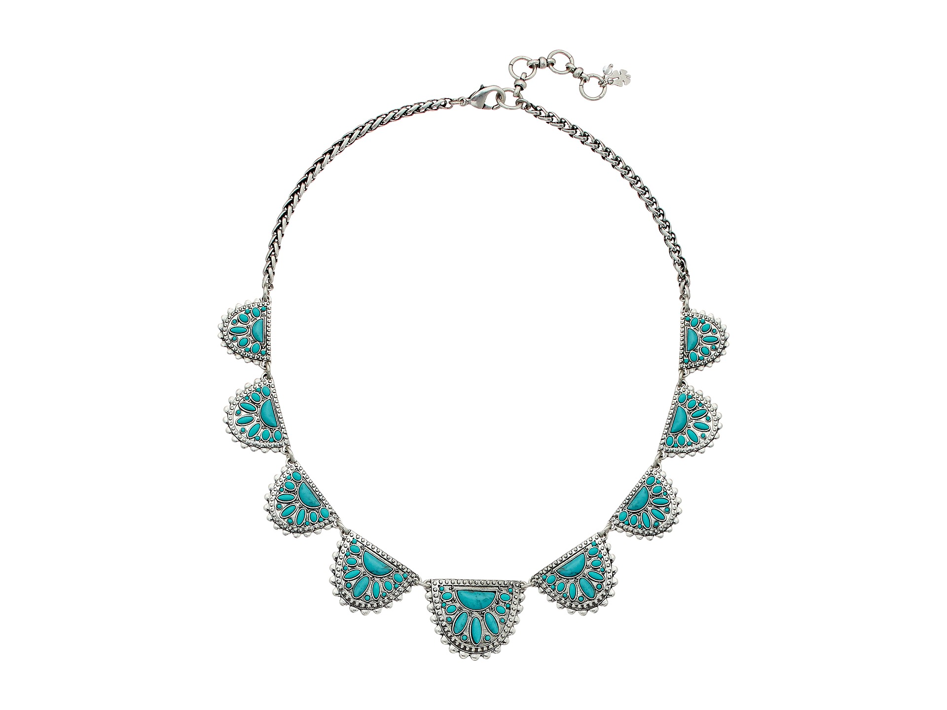 Lucky Brand Tribal And Turquoise Collar Necklace Silver