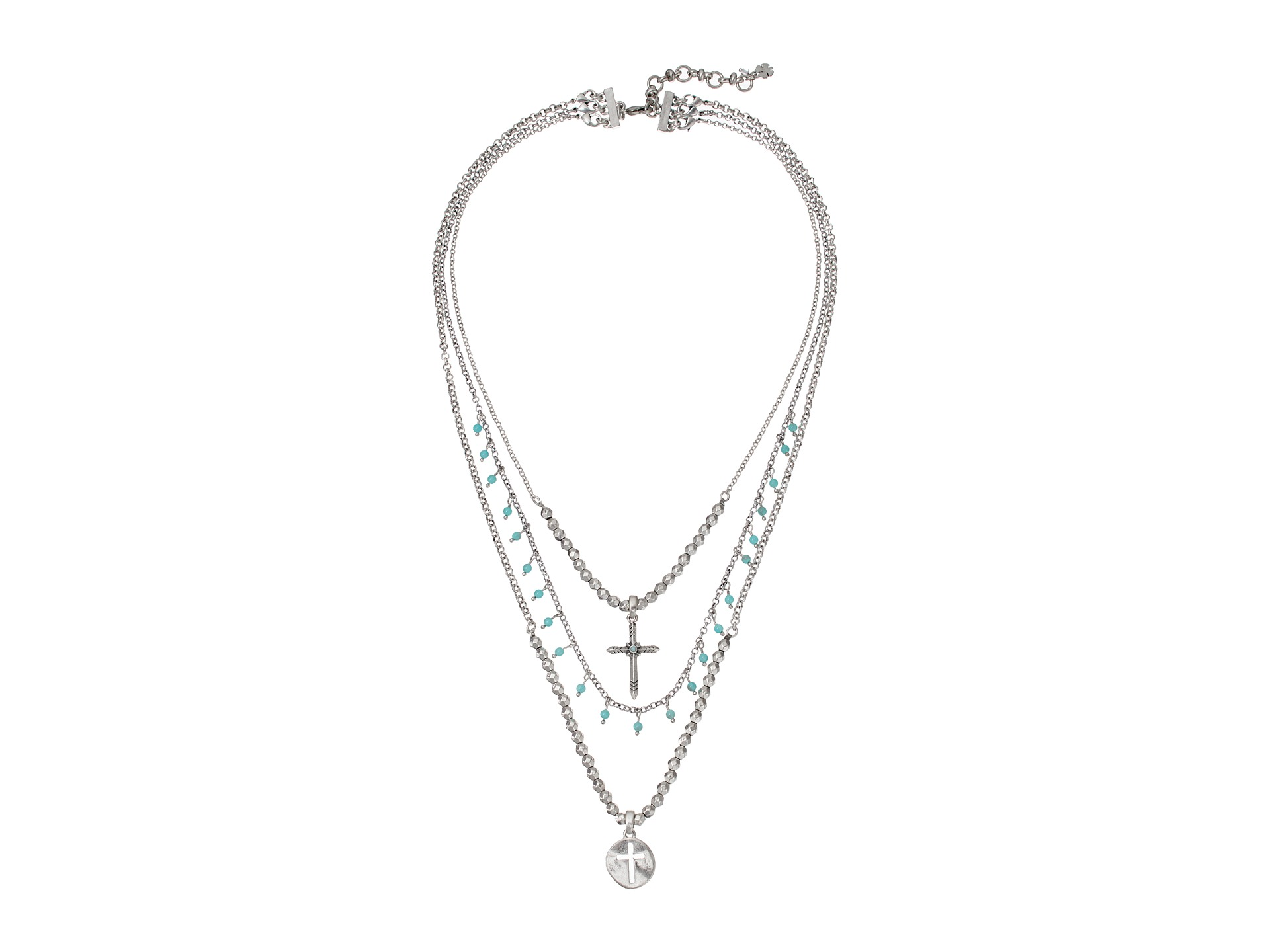 Lucky Brand Cross Turquoise Necklace Silver