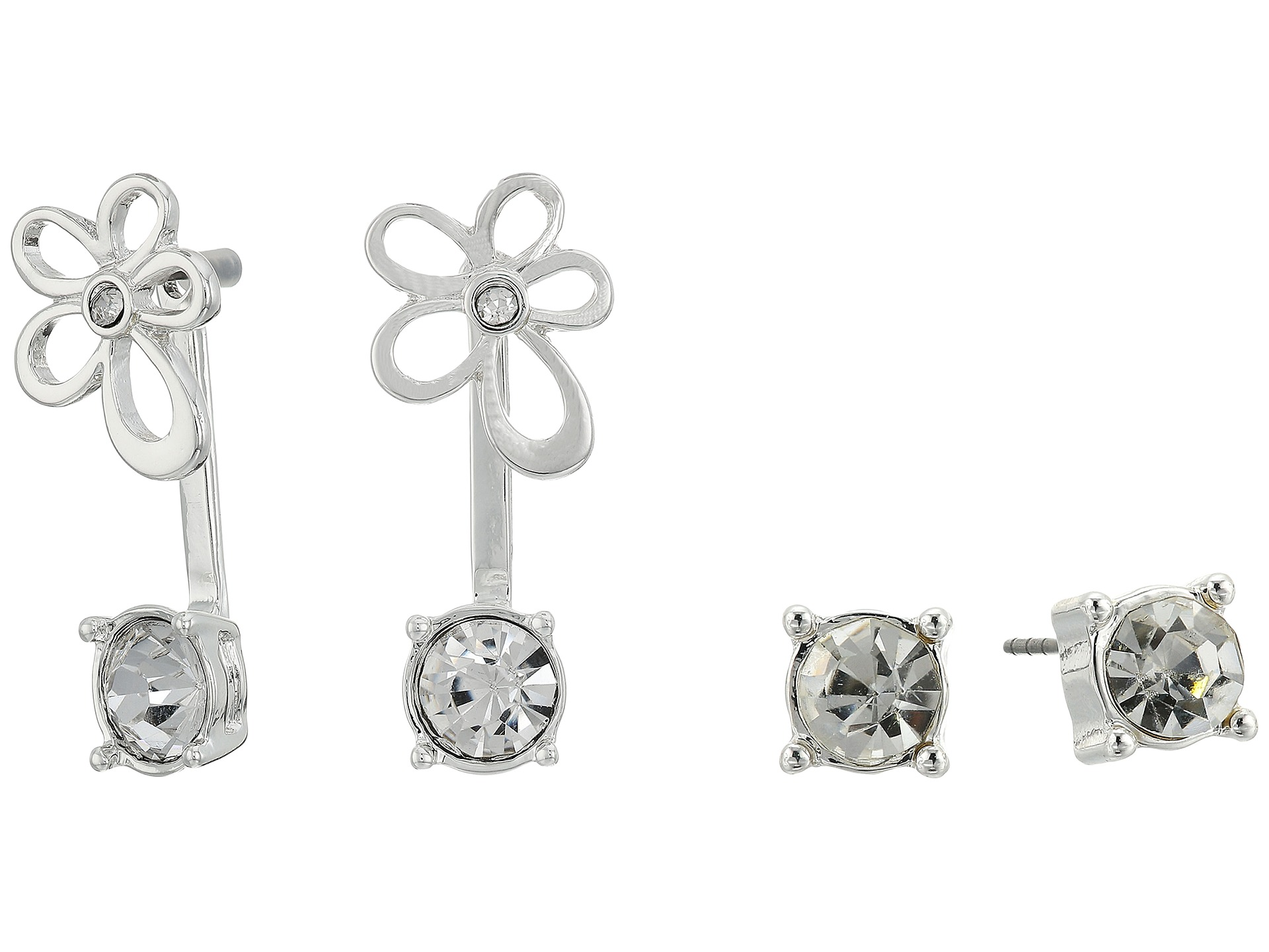 Guess Stud And Flower Front Back Duo Set Earrings Shiny