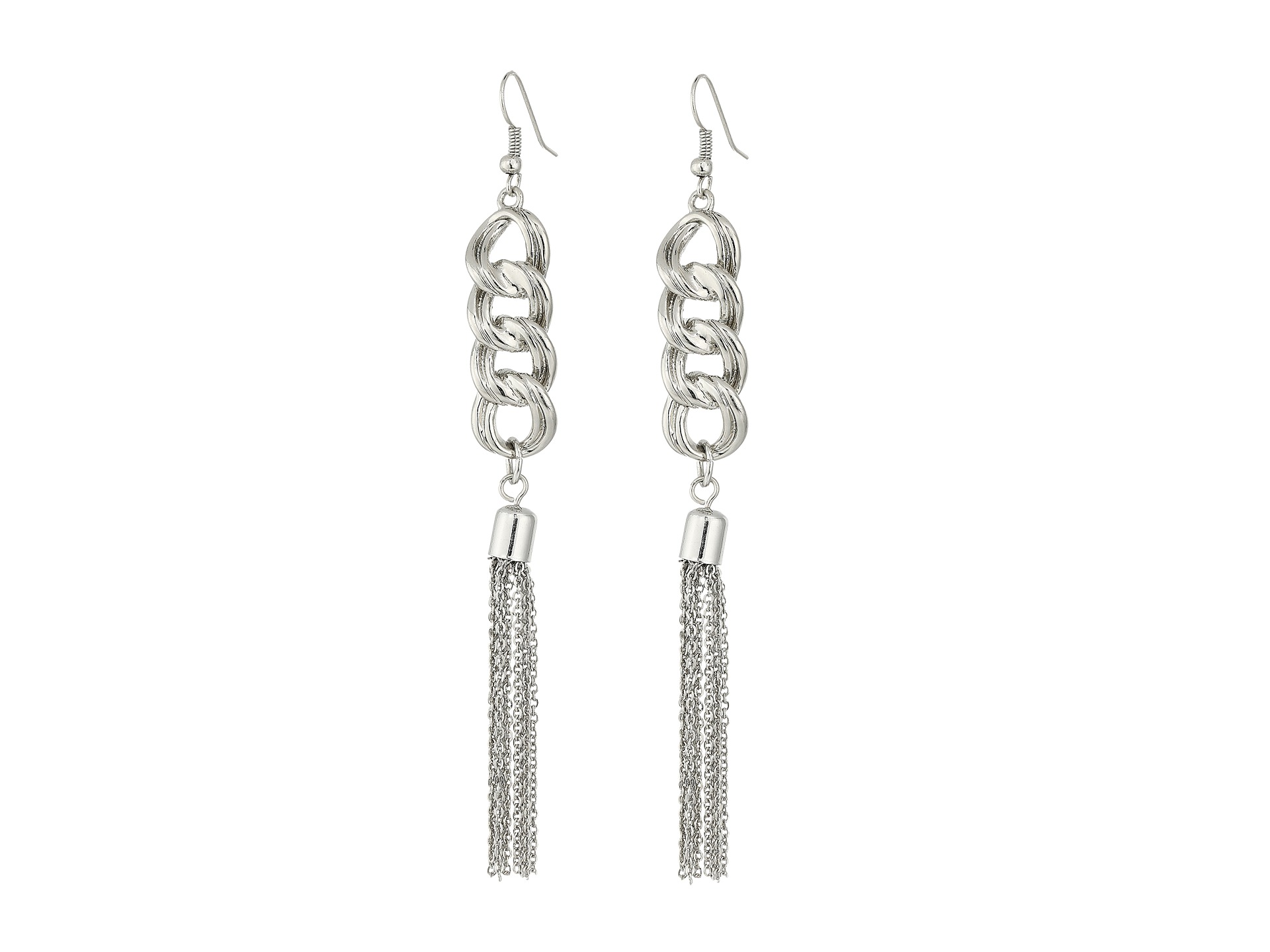 Guess Chain Drop With Tassel Earrings Silver