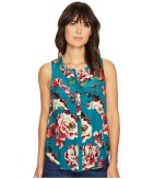 Lucky Brand - Exploded Floral Pintuck Tank Top (Green Multi) Women's Clothing