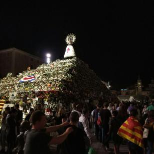 Ofrenda de Flores de las Fiestas del Pilar - Vista nocturna del manto de flores de la Virgen del Pilar en Zaragoza el 14 de Octubre de 2017