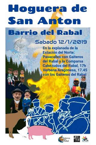 Hogueras de San Antón - Cartel anunciador de la fiesta en el Arrabal (Rabal) el sábado día 12 de enero