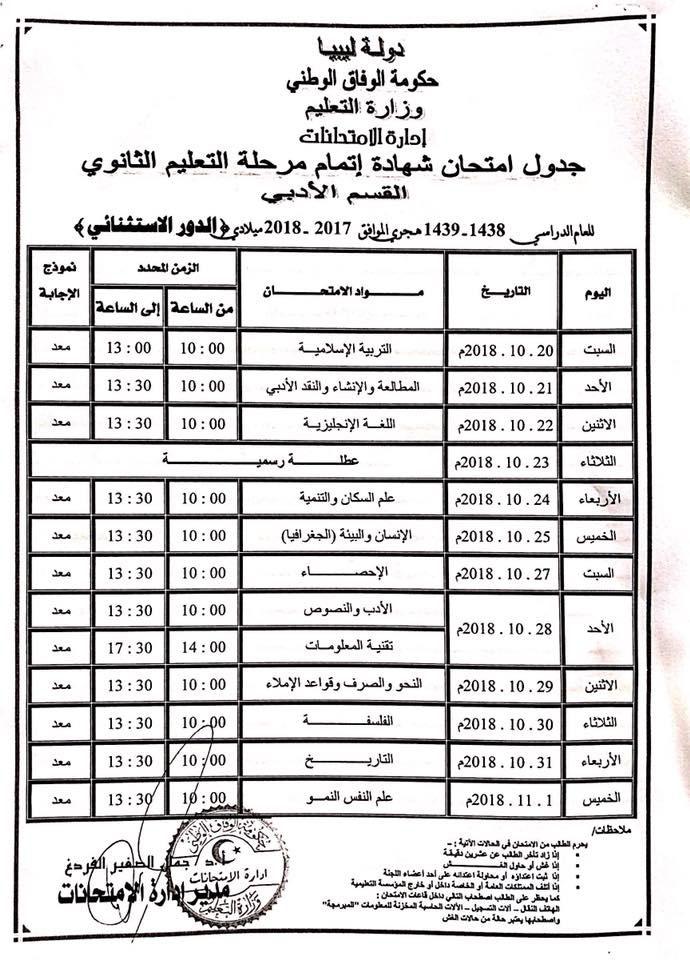 جدول امتحانات التوجيهي 2018