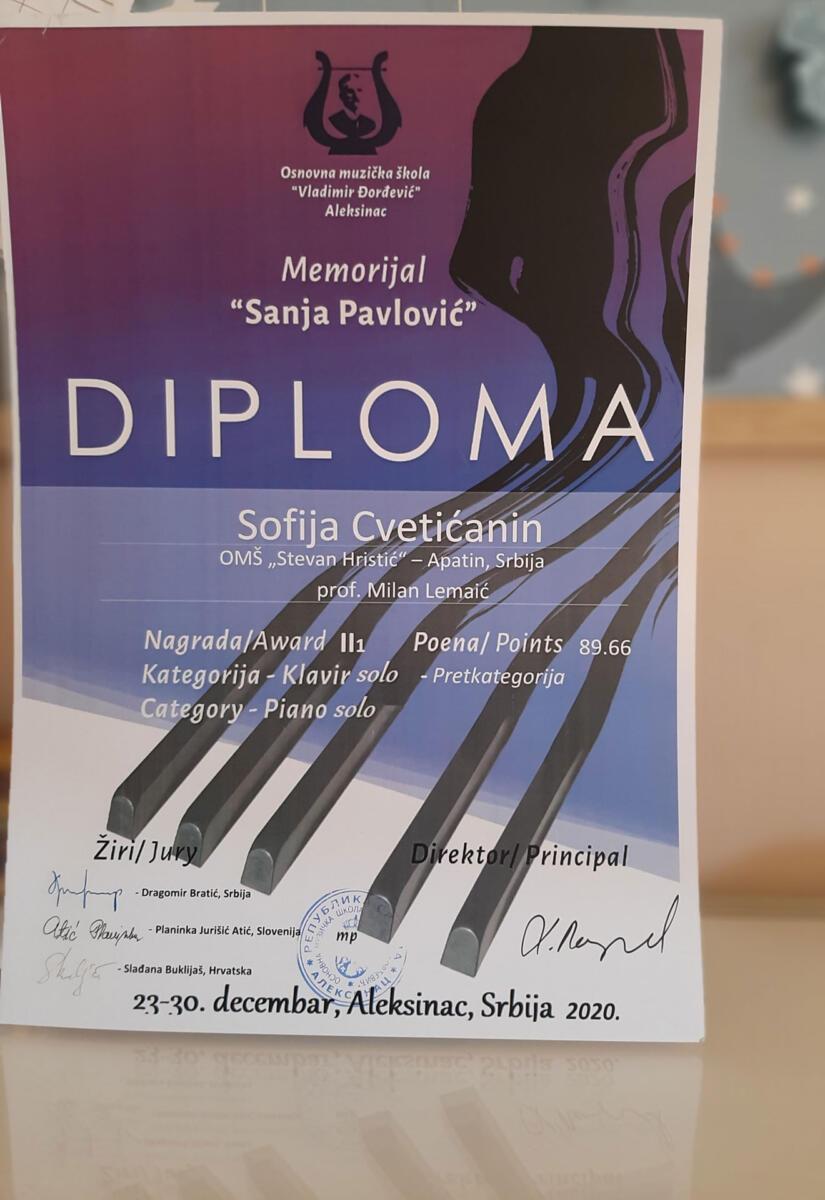 Софија Цветићанин - диплома