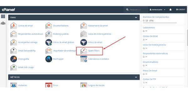 filtro anti spam cpanel