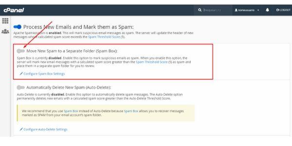 mover para caixa de spam