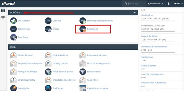 redirecionar dominio cpanel