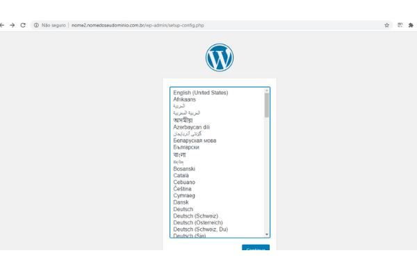 acessando o wordpress instalado