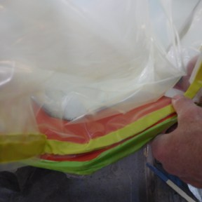 Double-sided butyl tape seals the bag.