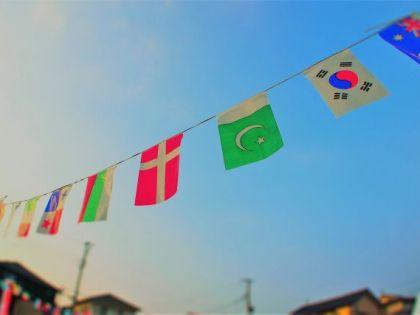 万国旗と 運動会