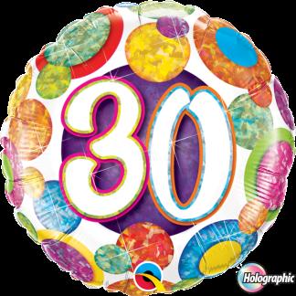 Folienballon Geburtstag 30 Glitzer bunt