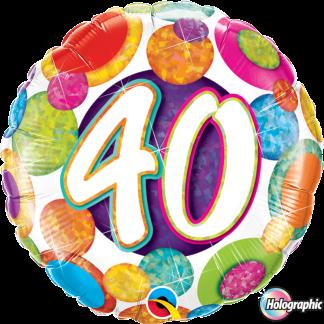 Folienballon Geburtstag 40 Glitzer bunt