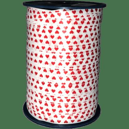 Polyband Geschenkband Weiss rote Herzen