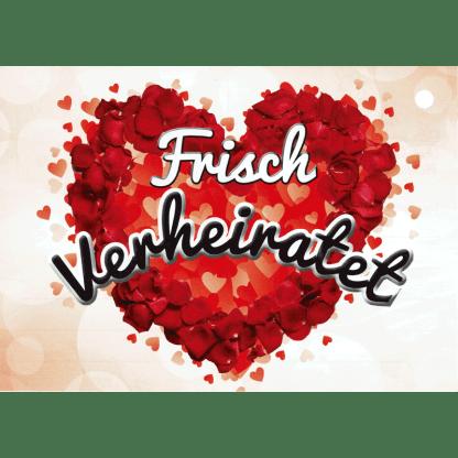 Ballonkarte Frisch verheiratet rote Herzen