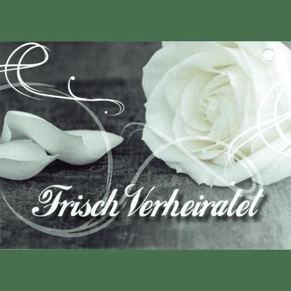 Ballonkarte Frisch verheiratet weisse Rosen