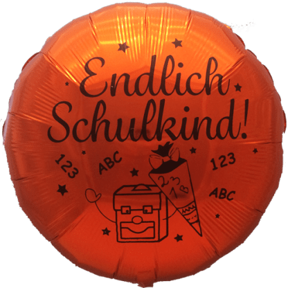 Folienballon zum Schulanfang Farbe Metallic Orange