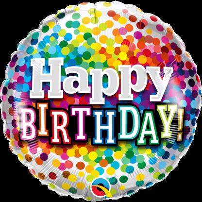 Folienballon Geburtstag Konfetti bunt