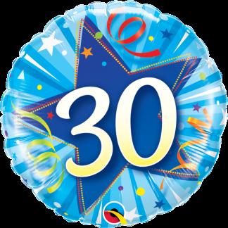 Folienballon Geburtstag Zahl 30 strahlende Sterne blau