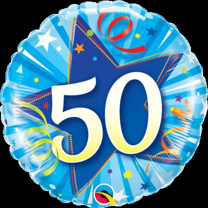 Folienballon Geburtstag Zahl 50 strahlende Sterne blau