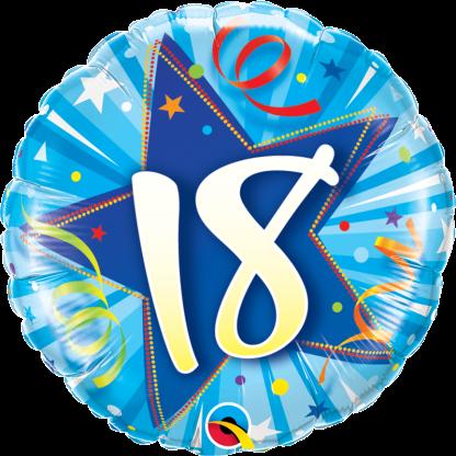 Folienballon Geburtstag Zahl 18 strahlende Sterne blau