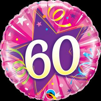 Folienballon Geburtstag Zahl 60 strahlende Sterne pink