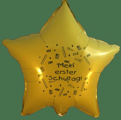 Folienballon Schulanfang Stern in Gelb