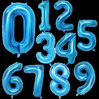 Folienballon Zahl Blau Geburtstag