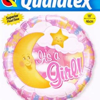 Folienballon Geburt Mädchen Mond Heliumballon Ballon Qualatex