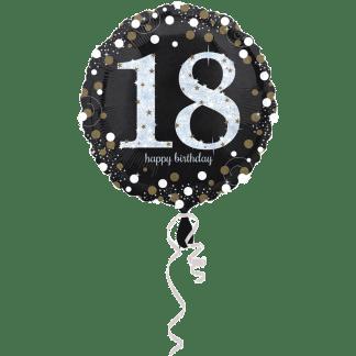 Folienballon Geburtstag Zahl 18 Glitzer Edel