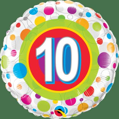 Folienballon Geburtstag 10 bunte Punkte