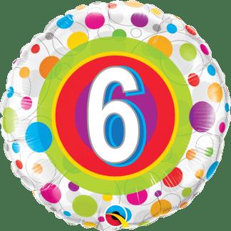 Folienballon Geburtstag 6 bunte Punkte