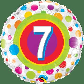 Folienballon Geburtstag 7 bunte Punkte