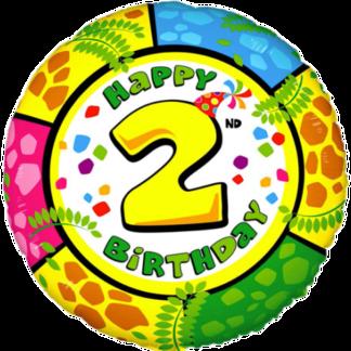 Folienballon Geburtstag Zahl 2 bunt
