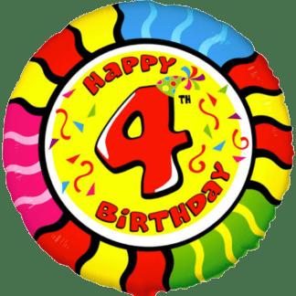 Folienballon Geburtstag Zahl 4 bunt
