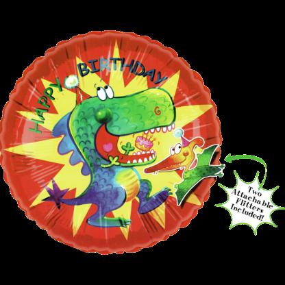 Folienballon Happy Birthday Dinosaurier