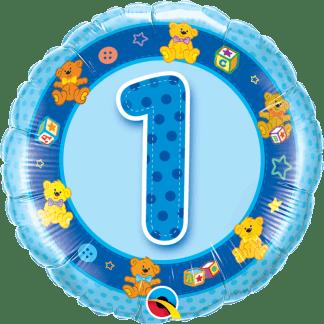 Folienballon Geburtstag Zahl 1 Blau Teddy