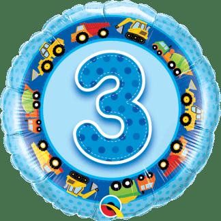 Folienballon Geburtstag Zahl 3 Blau Baustellenfahrzeuge