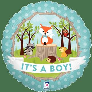 It's a Boy Folienballon zur Geburt Waldtiere