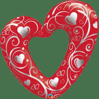 Herz Hochzeit Folienballon Ballon Silber Rot