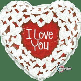 Folienballon Glitzer Herz Love You Hochzeit Liebe