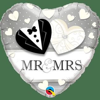 Ballon Folienballon Hochzeit Mr. & MRS. Schwarz Weiss