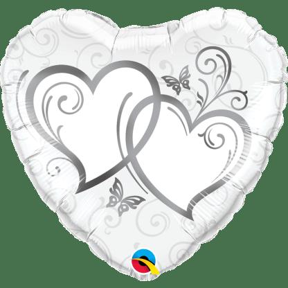 Folienballon Herzen Hochzeit heiraten Silber
