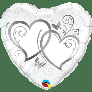 Folienballon Entwined Hearts silber 46 cm